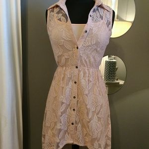 Mimi Chica Peach Rose Lace Juniors Dress